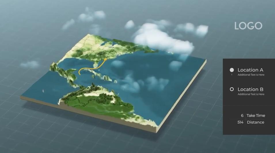 AE模板-三维世界地图标记定点连线动画生成器