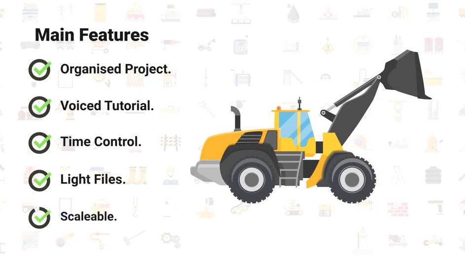 AE模板-100个工业建筑施工图标动画 Construction & Industrial Icons