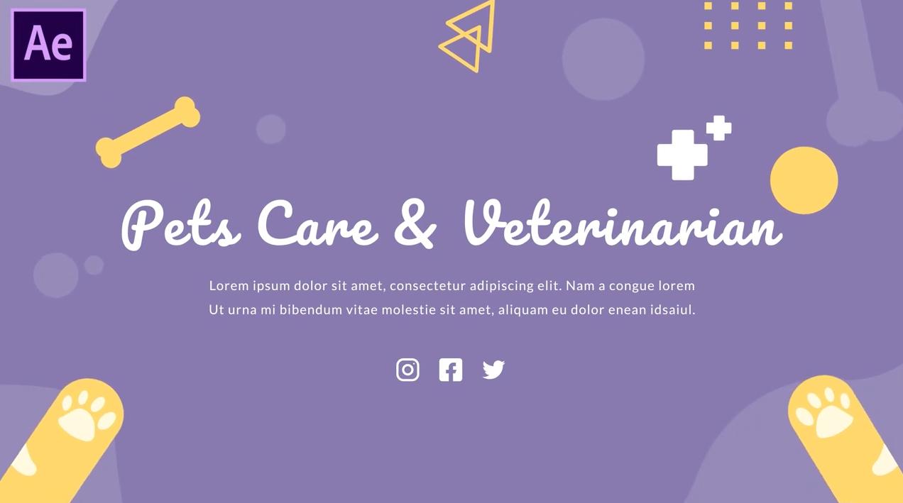 AE模板-可爱卡通医生宠物护理医疗图形动画介绍展示 Pets Care and Veterinarian