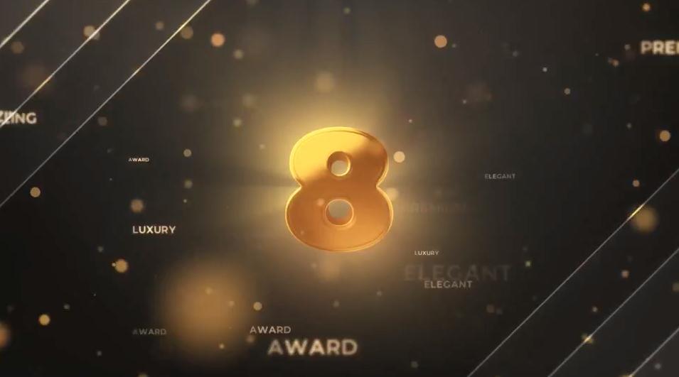 AE模板-金色粒子发光倒计时开场片头 Gold Countdown Intro