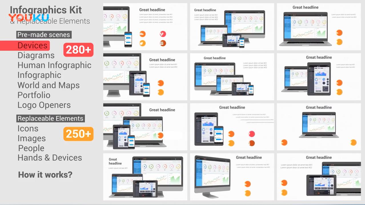 AE模板-500种信息数据图表商务场景动画元素包 Infographics Set & Elements