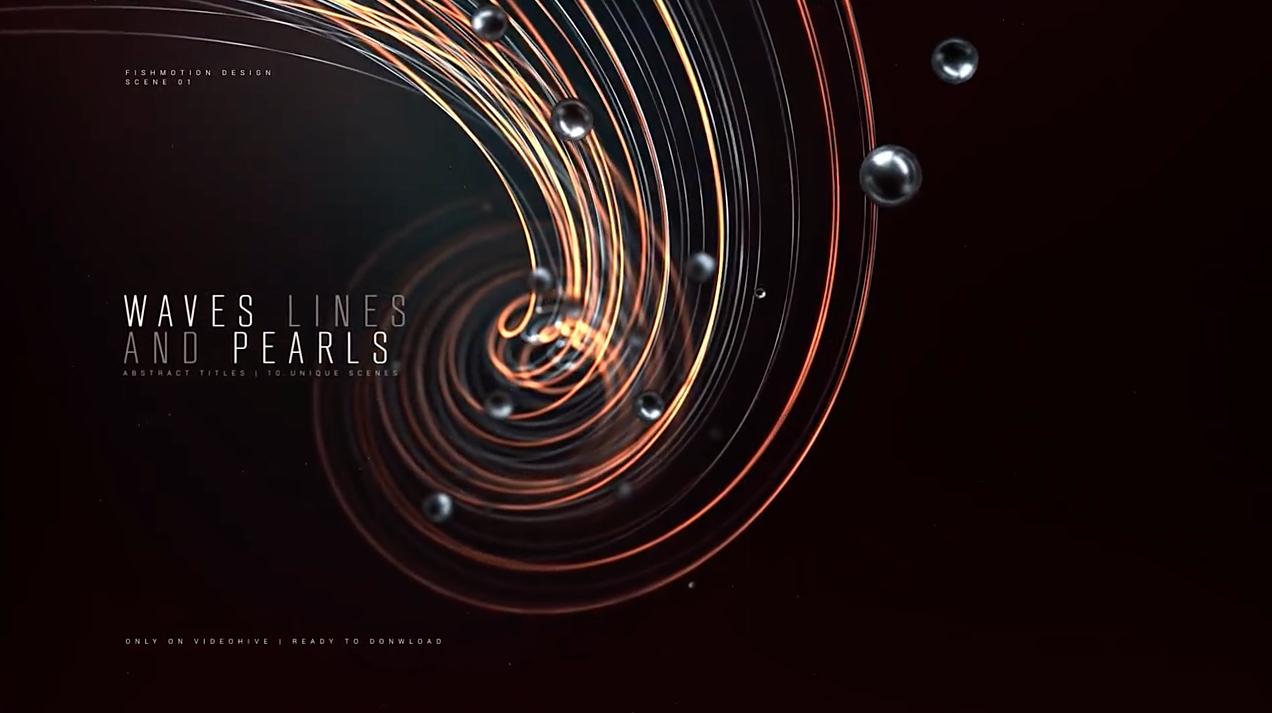 AE模板-大气三维粒子线条文字标题宣传开场片头 Abstract Titles Wave Lines and Pearls