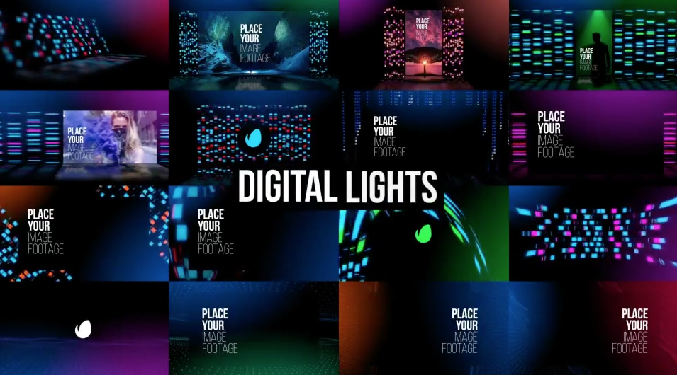 AE模板-128种舞台背景彩色霓虹灯光效果场景展示包装 Background Lights